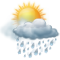 Cloudy skies with moderate rain